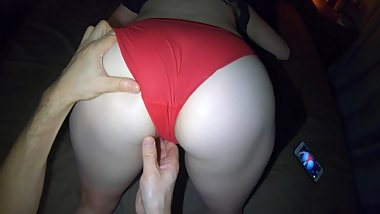 Oily Red Panty Massage Orgasm  Teasing Big Ass Hips and Pussy in Panties