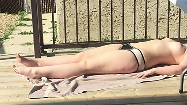 18 Year Old spied on Sunbathing TOPLESS