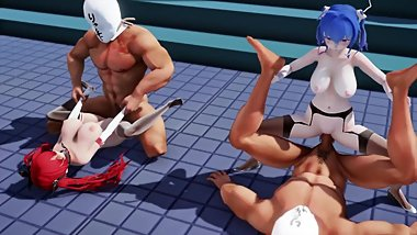 MMD SEX Azur Lane Honolulu & St. Louis Foursome - Daily Building