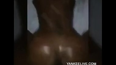 Skinny Chocolate Booty Throwing It Back Hard