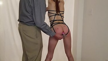 Sexy young submissive gets hung up and fucked