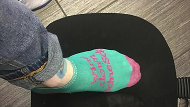 young tattooed teen shows off his long feet picture compilation