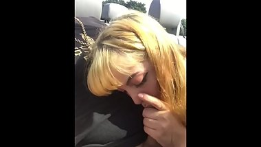 Blowjob with a dirty 18 year old outside